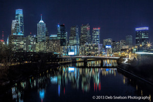 Night skyline cityscape Philadelphia Pennsylvania